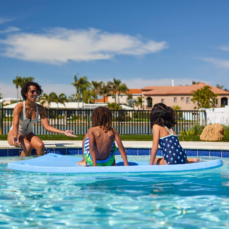 Island Pool Float with Kids Playing 2056BLU