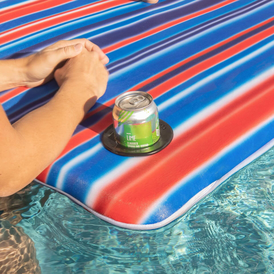 Blurred Americana Covered Island Pool Float with Cup Holder Detail 2068759