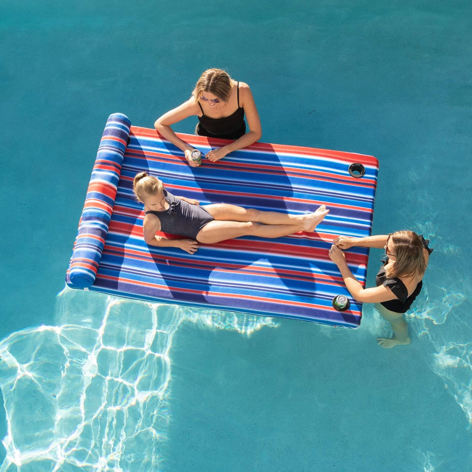 Blurred Americana Covered Island Pool Float with Cup Holders with Models Relaxing 2068759
