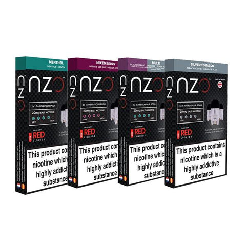 NZO 20mg Salt Cartridges with Red Liquids Nic Salt (50VG/50PG) - vapingos