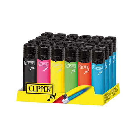 24 Clipper Refillable Electronic Jet Coloured Lighters - vapingos