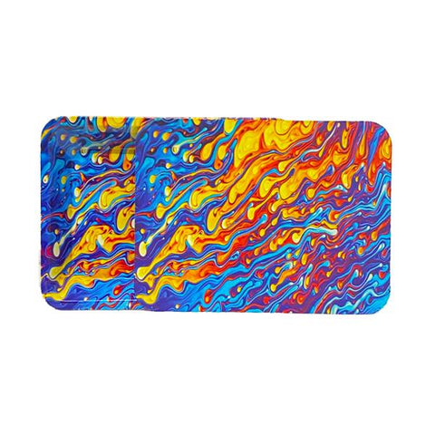Medium Mixed Design Magnetic Metal Rolling Trays with Lid - vapingos