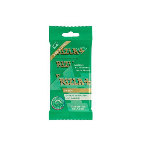 5 Pack Green Regular Rizla Rolling Papers (Flow Pack) - vapingos