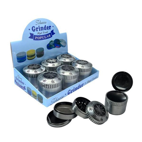 4 Parts Metal Grey 60mm Grinder With Mirror - SMK135K 1MY 02 - vapingos