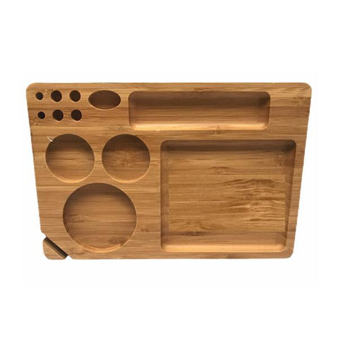 Medium Wooden Rolling Tray with Compartments - TRY-B230x155 - vapingos