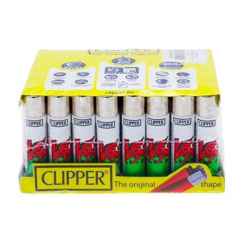 40 Clipper Refillable Classic Lighters Wales Flag - CL5C047UKH - vapingos