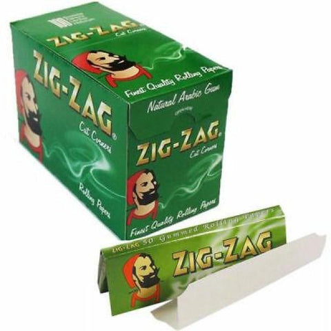100 Zig-Zag Green Regular Size Rolling Papers - vapingos