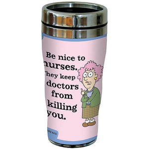 """Be Nice to Nurses"" 16oz Travel Mug"