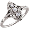 Magnificent 3-Stone Diamond Genuine Gemstone Ring at BitCoin Gems