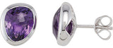 Contemporary Genuine Gemstone Amethyst Earrings at BitCoin Gems