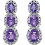Sophisticated Genuine Gemstone Amethyst Earrings at BitCoin Gems