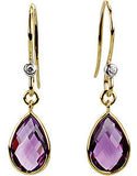 Lovely Genuine Gemstone Amethyst Earrings at BitCoin Gems