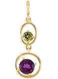 Striking Genuine Multi Gemstone Amethyst & Peridot Pendant for SALE at BitCoin Gems