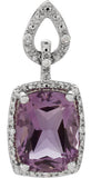 Feminine Genuine Gemstone Amethyst Pendant for SALE at BitCoin Gems