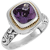 Attractive Amethyst Genuine Gemstone Ring at BitCoin Gems