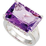 Snazzy Amethyst Genuine Gemstone Ring at BitCoin Gems