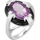 Exquisite Amethyst Genuine Gemstone Ring at BitCoin Gems
