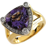 Unique Amethyst Genuine Gemstone Ring at BitCoin Gems