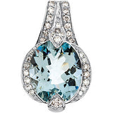 Radiant Genuine Gemstone Aquamarine Pendant for SALE at BitCoin Gems