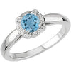 Fine Aquamarine Genuine Gemstone Ring at BitCoin Gems