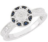 Stylish Blue Sapphire Genuine Gemstone Ring at BitCoin Gems