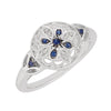 Desirable Blue Sapphire Genuine Gemstone Ring at BitCoin Gems