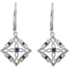 Unique Genuine Gemstone Blue Sapphire Earrings at BitCoin Gems