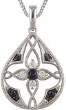 Intricate Genuine Gemstone Blue Sapphire Pendant for SALE at BitCoin Gems