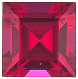 Synthetic Grade GEM Chatham Created Ruby  Loose Gems in Square Step Cut