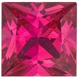 Standard Size Princess Cut Precious Natural Ruby Gem in Grade AA