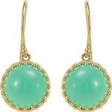 Great Genuine Gemstone Chrysoprase Earrings at BitCoin Gems