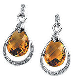 Beautiful Genuine Gemstone Citrine Earrings at BitCoin Gems