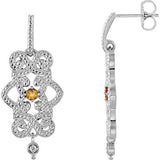 Finely Wrought Genuine Gemstone Citrine Earrings at BitCoin Gems