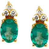 Royal Genuine Gemstone Emerald Earrings at BitCoin Gems