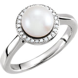 Pretty Freshwater Pearl Genuine Gemstone Ring at BitCoin Gems