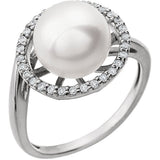 Gorgeous Freshwater Pearl Genuine Gemstone Ring at BitCoin Gems