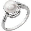 Fine Freshwater Pearl Genuine Gemstone Ring at BitCoin Gems