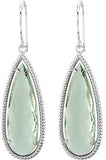 Stunning Genuine Gemstone Green Quartz Earrings at BitCoin Gems