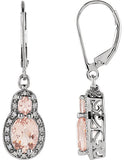 Dazzling Genuine Gemstone Morganite Earrings at BitCoin Gems