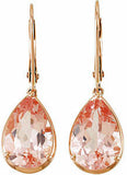 Feminine Genuine Gemstone Morganite Earrings at BitCoin Gems