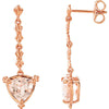 Exquisite Genuine Gemstone Morganite Earrings at BitCoin Gems