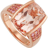 Desirable Morganite Genuine Gemstone Ring at BitCoin Gems