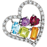 Fun Genuine Gemstone Multi Gemstone Pendant With Amethyst, Garnet, Peridot & Topaz for SALE at BitCoin Gems