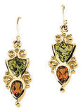 Ravishing Genuine Multi Gemstone Peridot & Citrine Earrings at BitCoin Gems