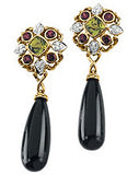 Stylish Genuine Multi Gemstone Onyx, Peridot & Garnet Earrings at BitCoin Gems