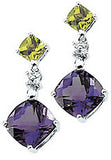 Modern Genuine Multi Gemstone Amethyst & Peridot Earrings at BitCoin Gems