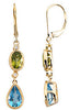 Radiant Genuine Multi Gemstone Peridot & Topaz Earrings at BitCoin Gems