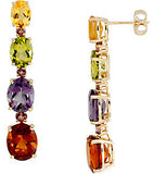 Unique Genuine Multi Gemstone Tourmaline, Citrine, Amethyst & Peridot Earrings at BitCoin Gems