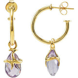 Fancy Genuine Gemstone Amethyst Earrings at BitCoin Gems
