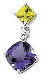 Eye Catching Genuine Multi Gemstone Amethyst & Peridot Pendant for SALE at BitCoin Gems